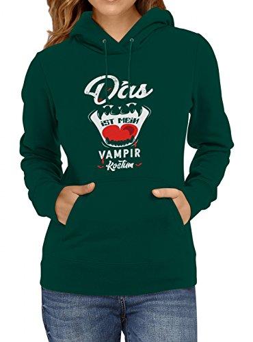 idung Vampir Premium Hoody | Kostüm | Karneval Hoodies | Fasching | Frauen | Kapuzenpullover, Farbe:Dunkelgrün;Größe:M (Günstige Vampir Kostüme Für Frauen)