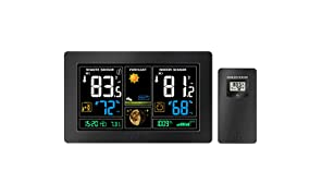 GBlife Estación Meteorológica Inalámbrica, Sensor Interior Exterior, Pronóstico del Tiempo, LCD Pantalla en Color y Brillo Regulable, Barómetro, Medidor de Humedad y Temperatura