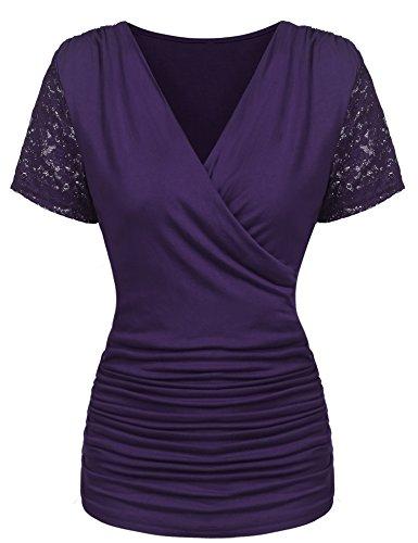 Parabler Damen Sexy V-Ausschnitt Kurzarm Tunika Blusen Oberteile Stretch T-Shirt in Wickel-Optik mit Rüschen (Lila, EU 36/S)