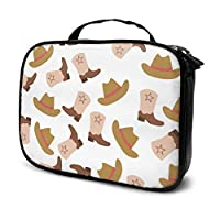 Retro Cartoon Fashion Cowboy Boots Travel Makeup Case Girls Cosmetic Bags Makeup Bags for Girls Multifunction Printed Pouch for Women