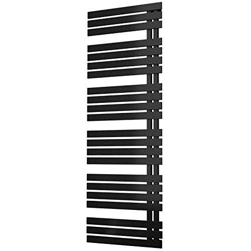 Schulte Bad-Heizkörper Breda, 169x60 cm, 838 Watt Leistung, Anschluss unten, pearl-schwarz, Handtuchhalter-Funktion (Flache Schwarze Handtuchhalter)
