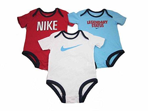 3 Pack Nike Infant Baby Bodysuits (9-12 Months, Red/White/Aqua Blue-560810) - Eine Infant Bodysuit