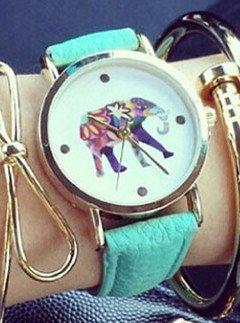 Las Mujeres de Gran Colorido Elefante Imprimir Dial de Oro Reloj de Pulsera para Mujer de Cuarzo de Piel Color Verde Menta