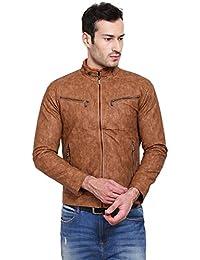 Derbenny Beige Pu Leather Jacket For Men
