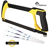 Hacksaw Pathonor Heavy Duty Upgraded, Blade 12inch/30cm(16Inch/40cm) 4 Blades for Kitchen, Garden, Glass,Tile, Wood, Metal, Plastic and Ceramic, Yellow and Black Handsaw