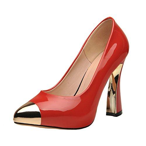 ENMAYER Chaussures D'automne de Printemps Pour Femmes Chaussures Chaussures en Talon à Talon Pointu Rouge