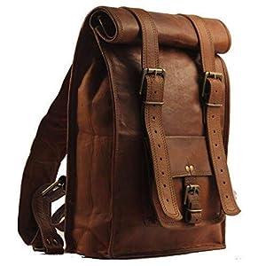 Handgefertigter Lederrucksack Vintage Rücksack Sling Bag Medium Brown reines Leder Tracking Rucksack   Mit kostenlosem Versand
