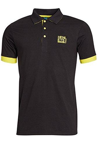 Herren Henleys Designer Hyperbolish Freizeit Polohemd Kragen Piqué Oberteil Kurzärmelig T-shirt Dicus - Antracite Black