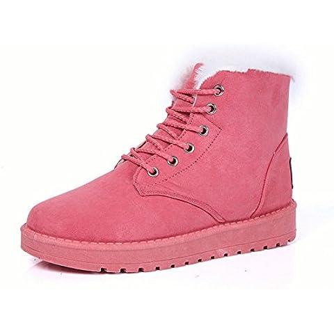 Ularma Zapatos de las mujeres, Tobillo plana con encaje piel forradas botas de invierno cálido