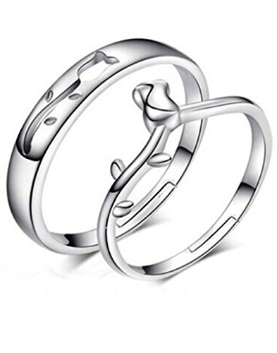 Karatcart Platinum Plated Elegant Rose Bud Couple Adjustable Band Ring