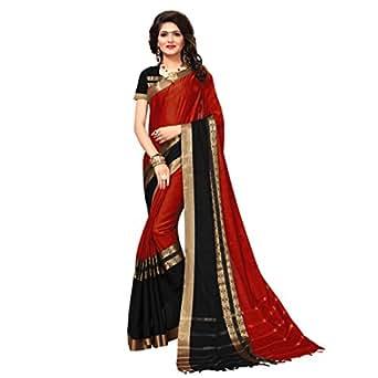 Indira Designer Women's Cotton Silk Saree with Blouse (Red, Free Size)