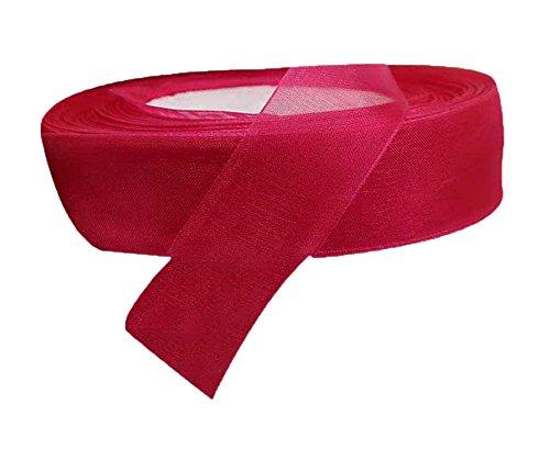 Spicy Meow 2 Rolls 1-Zoll Double Faced Solid Satin Chiffon Organza Ribbon Haarschleife Dark Red Chiffon Ribbon Roll