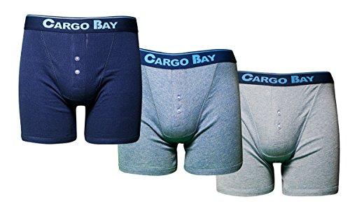 Cargo Bay 3Stück Boxershorts mit Knopfleiste, Baumwolljersey Blau - Blau