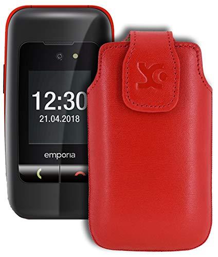 Suncase Original Tasche für Emporia One Hülle Leder Etui Handytasche Ledertasche Schutzhülle Case in rot