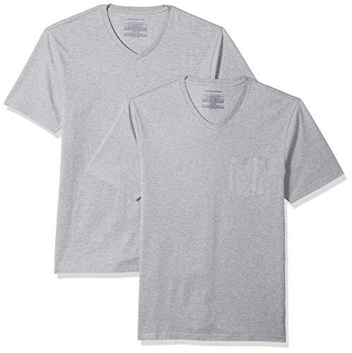 Amazon Essentials 2-Pack Slim-Fit V-Neck Pocket T-Shirt, Grau (Heather Grey Hea), XX-Large (EU XXXL-4XL) -