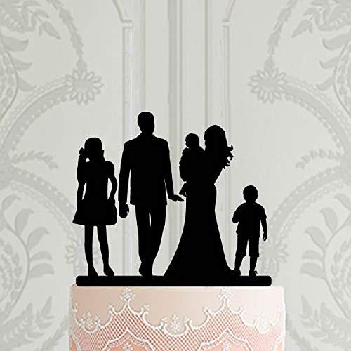 Familien-Silhouette Hochzeitstorte Tortenaufsatz Brautpaar mit 3 Kindern Braut und Bräutigam mit Baby Custom Cake Topper