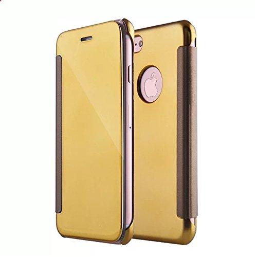 Coque iphone 7 Plus Luxe Mirror clear flip Cover view Bumper étui Housse Coque pour Apple iphone 7 Plus (5.5) pourpre Or