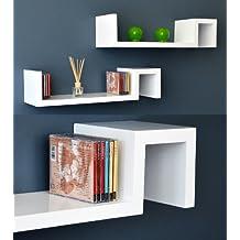 ts-ideen 5702 Set 2 mensole angolari per CD e libri, utilizzabili anche come tavolini o comodini, colore bianco