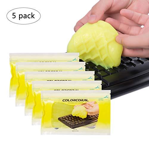 Tastatur-Reinigungsgel für Auto Laptop und Tastatur-Reiniger, für saubere Tastatur, PC, Tablet, Computer, Auto, Lüftungsschlitze, Gelb, 5 Stück