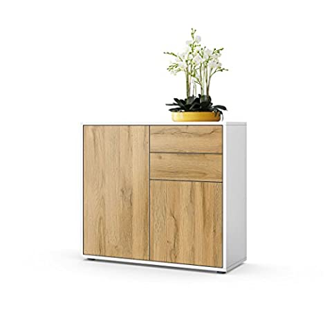 Kommode Sideboard Ben, Korpus in Weiß matt / Fronten in Eiche Nature