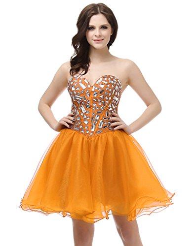 Vantexi Frauen Kristall Kurz Abendkleid Ballkleid Cocktailkleider Orange