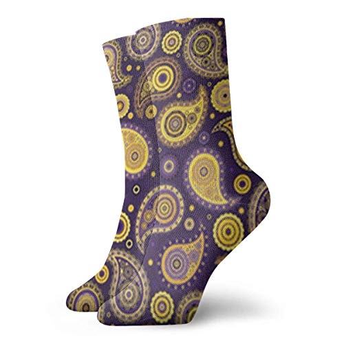Nifdhkw Paisley Purples & Golds Crew Socks Funny Novelty Thin Casual Sport Comfort Work 11.8