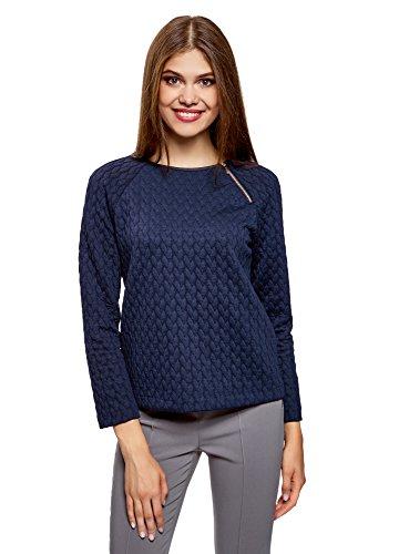 oodji Ultra Damen Sweatshirt aus Strukturiertem Stoff mit Zierreißverschluss, Blau, DE 38 / EU 40 / M