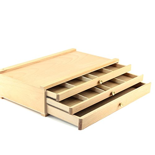 TXXCI 3-Schubladen-Kunst-Versorgungsmaterialien hölzerner Kasten Aufbewahrungs-Kasten-Farben hölzerner Kasten - Burlywood (Kunst-schubladen)