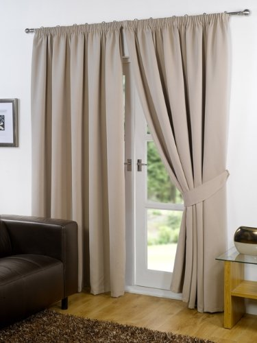 Pair of BEIGE 46″ Width x 90″ Drop , Supersoft Thermal BLACKOUT Curtains INCLUDING PAIR OF MATCHING TIE BACKS, 'Winter Warm but Summer Cool' by VICEROY BEDDING