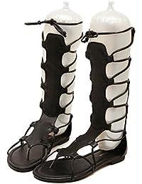 K&GQ sandali VB  Las Mujeres Sandalias de Tacón Plano Toe Banda Elástica Tira Transversal Cremallera Trasera Calzado...