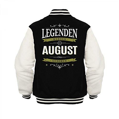 Fashionalarm Herren College Jacke - Legenden werden im August geboren   Varsity Baseball Jacket   Sweatjacke mit Spruch Geburtstag Geschenk Idee Schwarz / Weiß