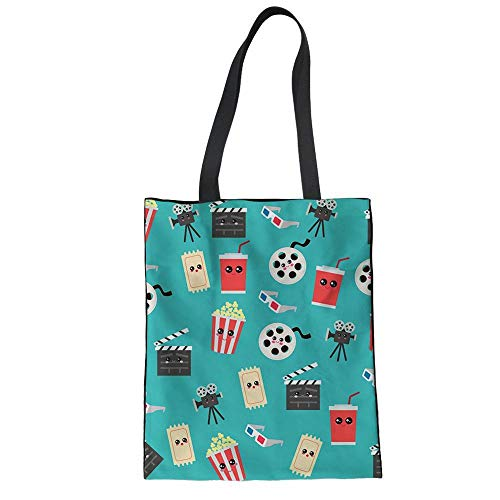 Cartoon-muster Leinwand (SHOUTIBAOBAO Handtasche Leinwand,3D Cartoon Popcorn Projektor Muster Blau Drucken Frauen Wieder Verwendbare Einkaufstaschen, Handtaschen Strand Travel Umhängetasche Für Profil)