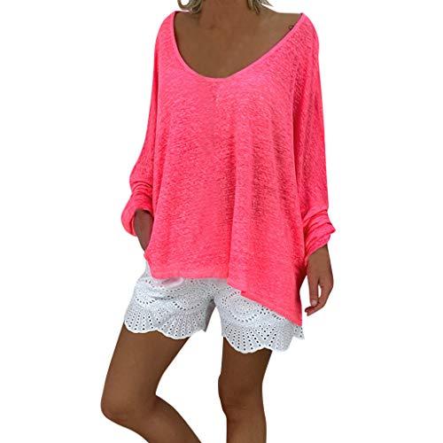 AIFGR Damen Bluse Rundhals-Langarmshirt Pullover Sweater Top Outwear Pulli blusen Strandtunika Rundhalspullover(Pink,XXXXL) -