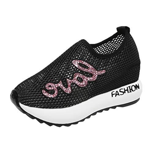 Damen Sneaker Mädchen Mode Laufschuhe Freizeit Leder Freizeitschuhe Sportschuhe mit Reißverschluss... (EU:36, Schwarz - H)