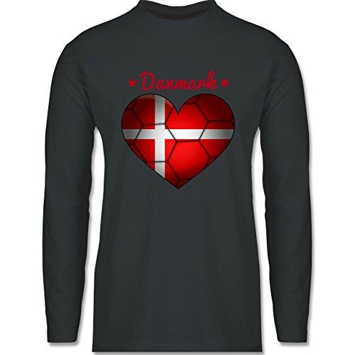 Shirtracer Handball - Handballherz Dänemark - Herren Langarmshirt Dunkelgrau