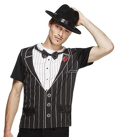 Costumes Hommes Blanc Gangster - Smiffys - T-Shirt Imprime Costume Gangster Noir