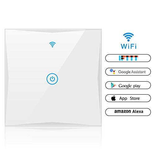 Alexa Smart Lichtschalter, SAINKO 1-Weg WLAN In-Wall gehärtetes Glas Touchscreen-Schalter, arbeitet mit Amazon Alexa und Google Home, Timing-Funktion, Überlastungsschutz (1-weg)