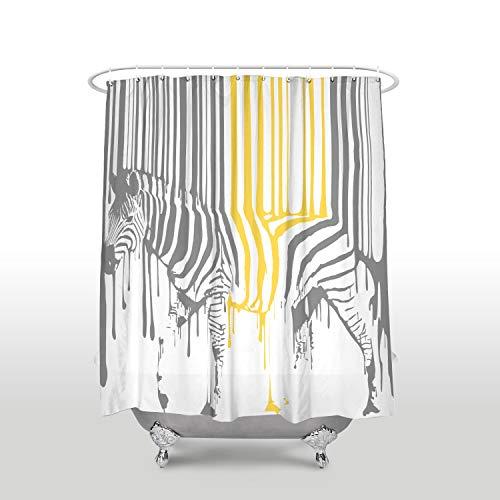Renfengchui wasserdichte Süße Tier Zebra Muster Duschvorhänge Mit Haken Polyester Stoff Grau Gelb Bad Vorhänge Hausdekoration 180 X 180 cm - Duschvorhang Rüschen Grau Mit