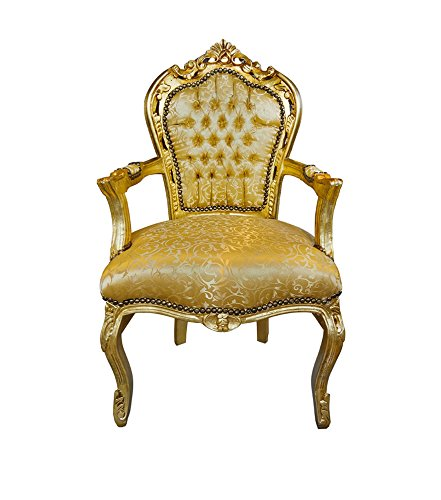 Barockstuhl mit Armlehne gold/gold