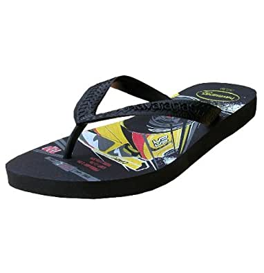 Havaianas Kids Speed Racing Cars Flip Flops Toe Post Sandals Beach Pool Shoes black UK 13c - Eur 33/34 - 20.5 cms