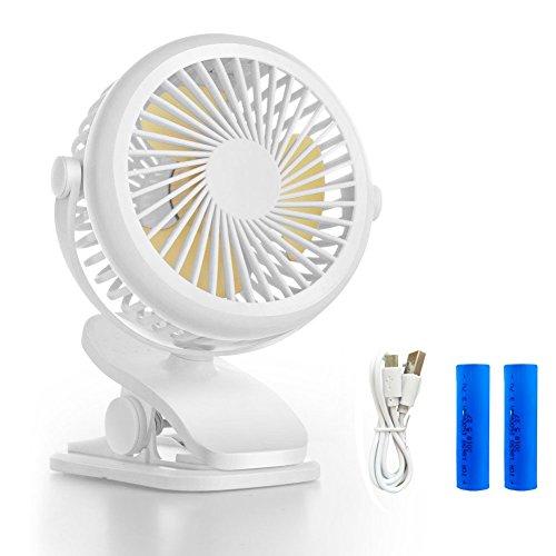 Queta USB Clip Ventilator, Mini Ventilator mit USB oder 1600mAh Kraftvoll Wiederaufladbare Batterie Clip Fan für Auto Kinderwagen Rollstuhl Büro (Weiß)