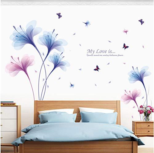 deen Große Wandaufkleber Pflanze Blume Schmetterling Wohnkultur Wohnzimmer Schlafzimmer Aufkleber Kunst Poster Tapete Abnehmbar 180X90 cm ()