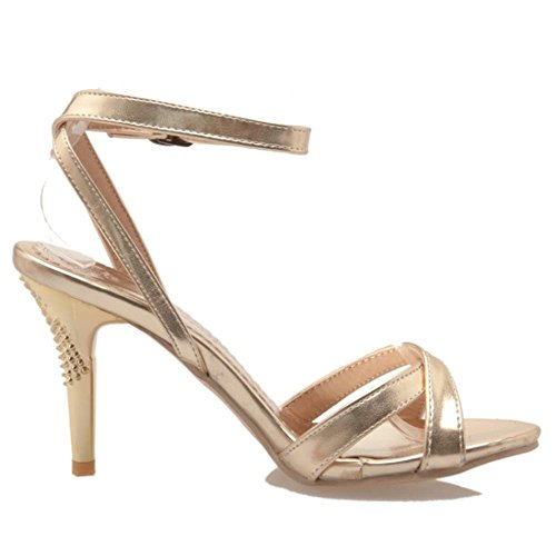 COOLCEPT Femmes Mode Sangle de cheville Criss Cross Strappy Sandales Mariage Soiree Chaussures Or