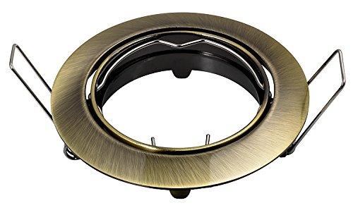 PREISHIT!!! Einbau-Strahler GU10/MR16 Einbaurahmen Einbau-Leuchte PTK (Alt Messing gebürstet, 7-er Set)
