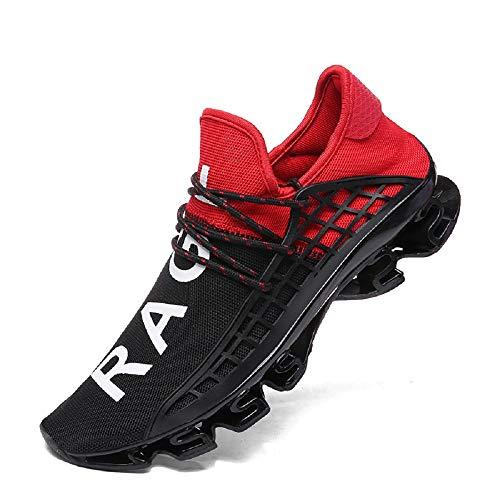 Herren Laufschuhe Damen Turnschuhe Freizeitschuhe Atmungsaktiv Sneakers Mode Straßenlaufschuhe, Rot, 43 EU ()