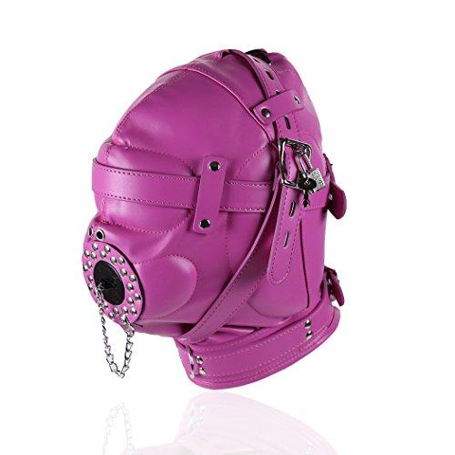 Raycity Hot Pink Leder Kostüm Gimp Maske Haube Stil (Gimp Maske Kostüm)