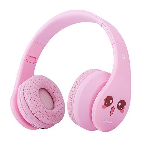 Kinder Bluetooth Kopfhörer, Kabellos Kopfhörer für Mädchen, 85dB Volumen-begrenzte faltbare justierbare, leichte Überohr-Kopfhörer mit Mikrofon SD-Kartenschlitz für Kinder - Rosa