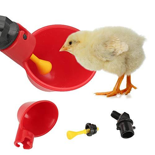 Zunate 10 pcs abbeveratoio del pollo,bicchieri di abbeveratoio per pollame,portabile bicchieri per l'acqua del pollame, uccelli, utillizato per allevamento pollame,rosso,in plastica