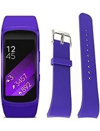 Magiyard Correa Para Samsung Gear Fit2 Pro, Correa Reemplazo del reloj de silicona (S, púrpura)