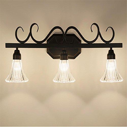 YL-Light Amerikanische Retro LED Spiegel Vorne Lampe Badezimmer Nachttisch Wohnzimmer Schlafzimmer Kleider Tisch Wand Lampe, 3 Heads - Drei Licht-eitelkeit-wand-lampe